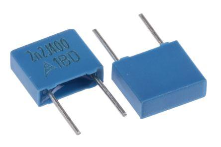 EPCOS 2.2nF Polyester Capacitor PET 200 V ac, 400 V dc ±5%, Through Hole (25)