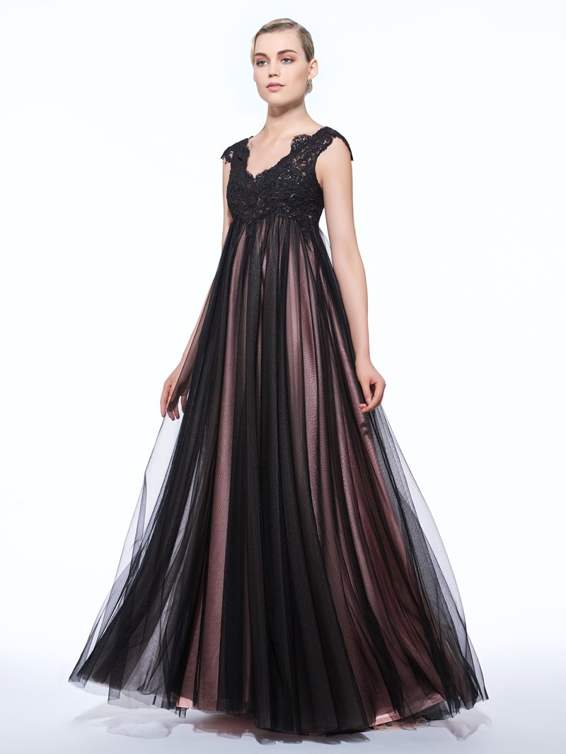 Ericdress A-Line V-Neck Cap Sleeves Appliques Sequins Floor-Length Evening Dress