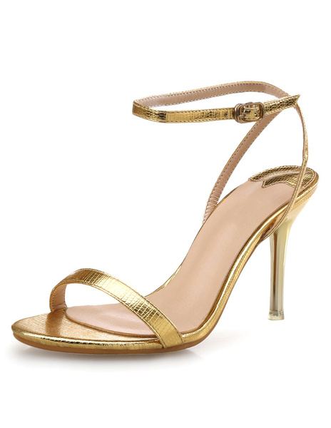 Milanoo High Heel Sandals Womens PU Leather Open Toe Slingback Stiletto Heels Sandals