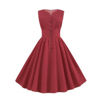 Ditsy Polka Dot Vintage A Line Button Front Dress