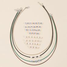 5 Stuecke Halskette mit 52 Stuecke Perlen mit Buchstaben Design
