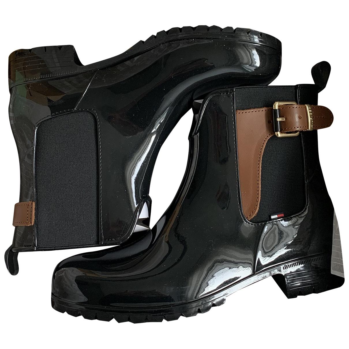 Tommy Hilfiger - Bottes   pour femme en cuir verni - noir