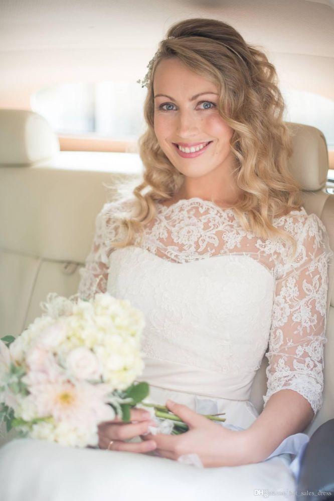 Una linea de vestido de novia de media manga de encaje Off hombro V Back de Bohemia vestido de novia