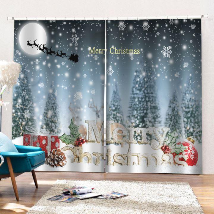 3D Christmas Snow Night Printed Blackout Curtain Festival Home Decor