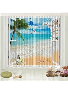 3D Beach Printed Teal Black Out Curtains 2 Panel Set 87 Inches Wide and 84 Inches Physically Blocks Light Nicely Prevents UV Ray Provides a Cool Summe
