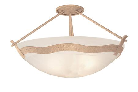 Aegean 5457MG/ALAB 3-Light Semi Flush Mount Ceiling Light in Modern Gold with White Alabaster Standard Bowl Glass