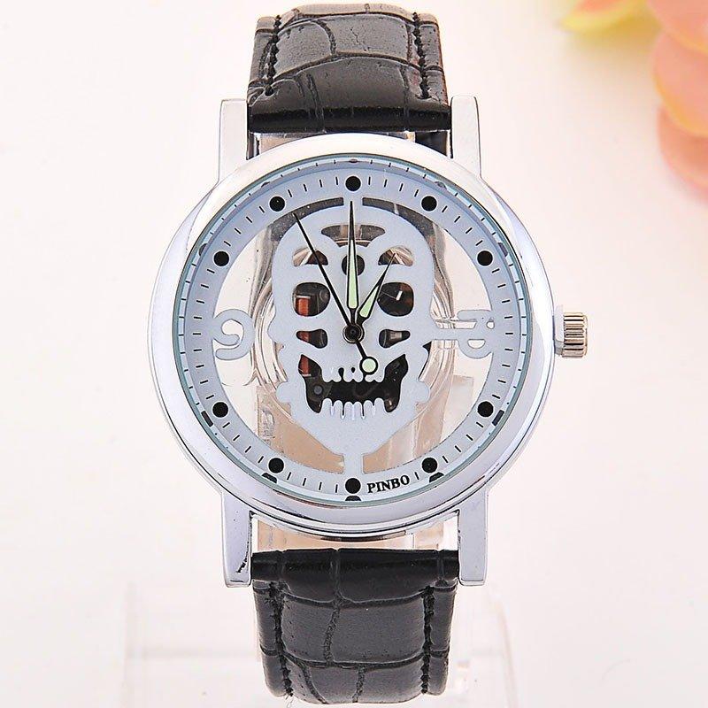 Trendy Skull Quartz Watch Double Hallow Men Watch Leather Quartz Watch Fashion Watch