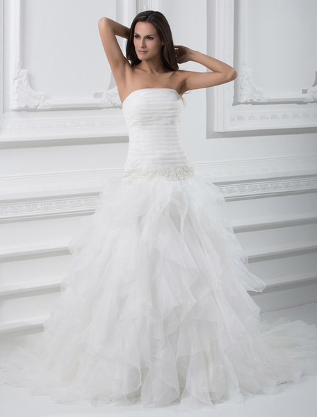 Milanoo White Wedding Gown Strapless Organza Wedding Dress Tiered Ruffles Pleated Beading Dropped Waist Bridal Dress