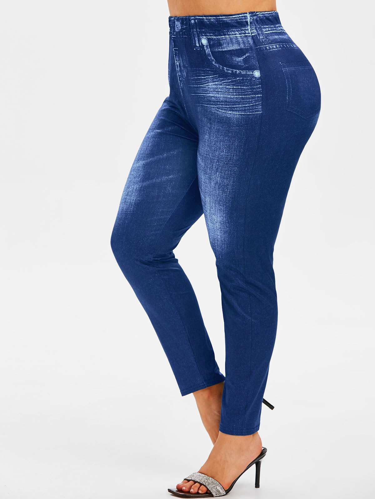 Plus Size High Waisted 3D Jean Print Jeggings