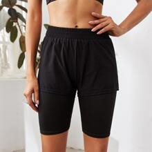 2 In 1 Solid Sports Shorts