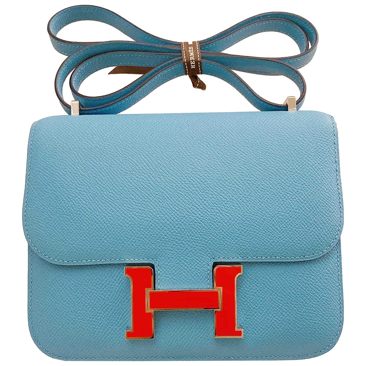 Hermes - Sac a main Constance pour femme en cuir - bleu