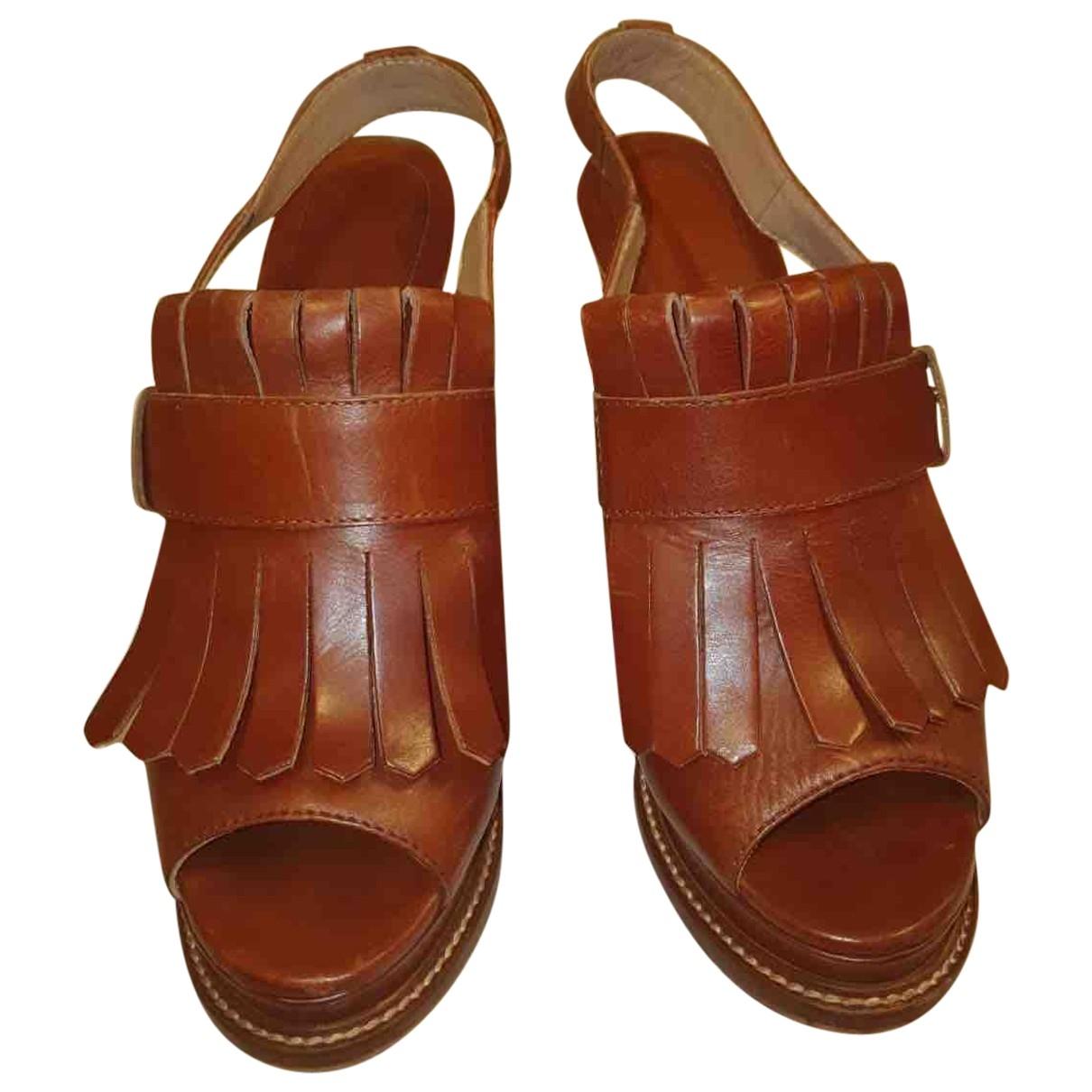 Twin Set \N Brown Leather Heels for Women 41 EU