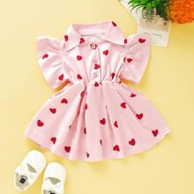 Baby Girl Allover Heart Print Half Button A-line Dress