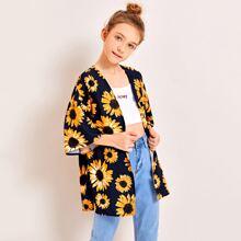 Kimono mit Sonnenblumen Muster