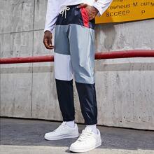 Men Contrast Panel Pants