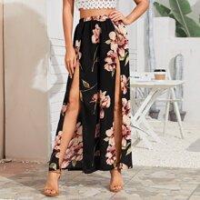 Pantalones de muslo con abertura con estampado floral