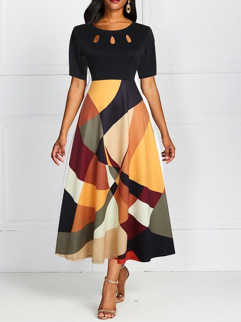 Ericdress Short Sleeve Ankle-Length Round Neck High Waist Maxi Dress