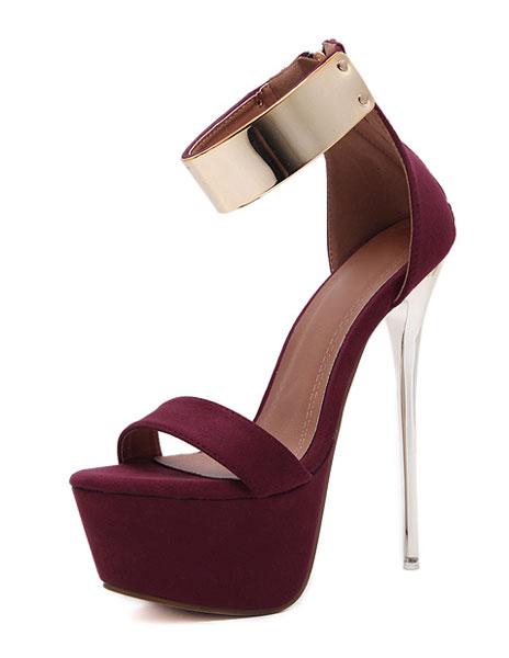 Milanoo Burgundy Sexy Sandals 2020 Women High Heel Sandals Platform Metal Details Ankle Strap Sandal Shoes