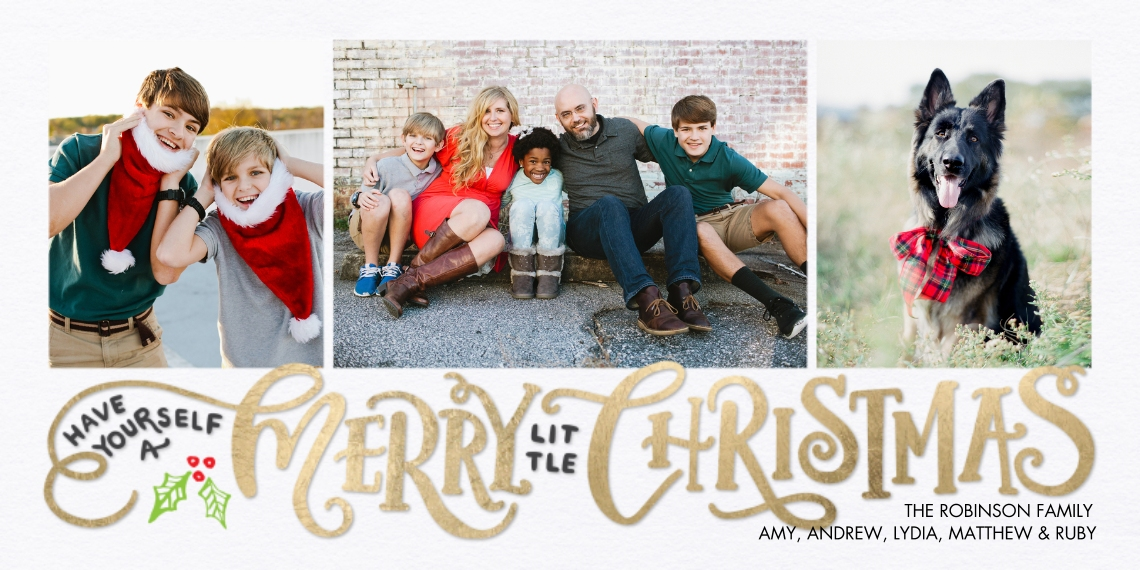 Christmas Photo Cards 4x8 Flat Card Set, 85lb, Card & Stationery -Christmas Rustic Letters by Tumbalina