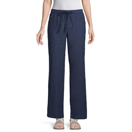Liz Claiborne Womens Wide Leg Drawstring Pants, Large , Blue