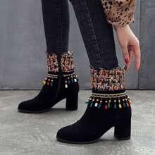 Stiefel mit Perlen und Fransen Dekor