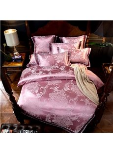Jacquard Flower Smooth Light Pink 4-Piece Polyester Bedding Sets/Duvet Cover