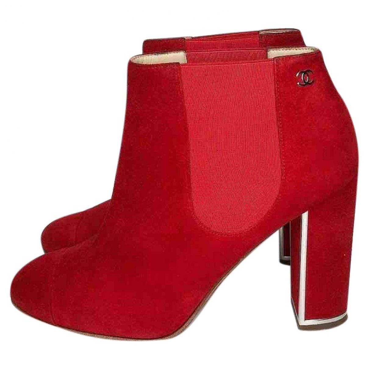 Chanel - Boots   pour femme en suede - rouge
