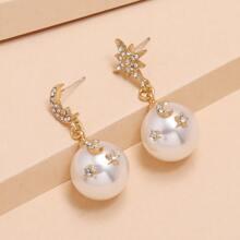 Star Decor Faux Pearl Drop Earrings
