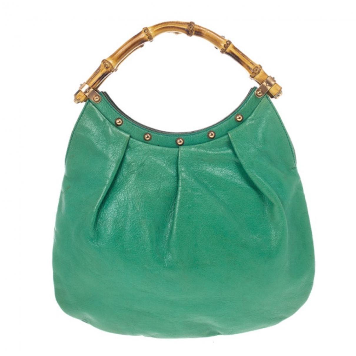 Gucci Bamboo Handtasche in  Gruen Leder