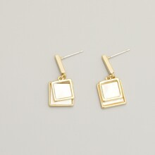 Geometric Charm Drop Earrings
