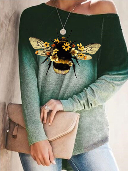 Milanoo Women Long Sleeves Tees Coffee Brown Bee Printed Jewel Neck Polyester Cotton T Shirt
