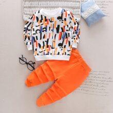 Sweatshirt mit Grafik Muster & Jogginghose