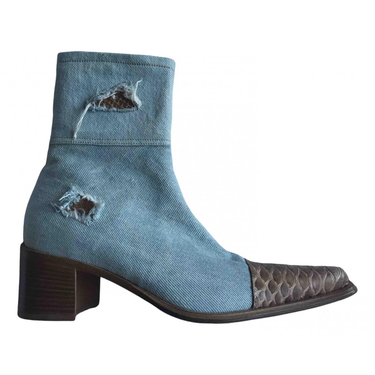 - Boots   pour femme en python - bleu