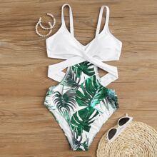 Bañador una pieza girante tropical