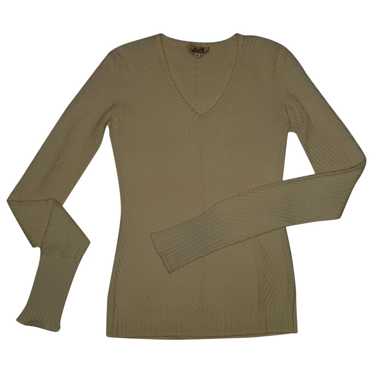 Hermes - Pull   pour femme en laine - ecru