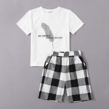 T-Shirt mit Feder & Buchstaben Muster & Shorts mit Karo Muster Schlafanzug Set