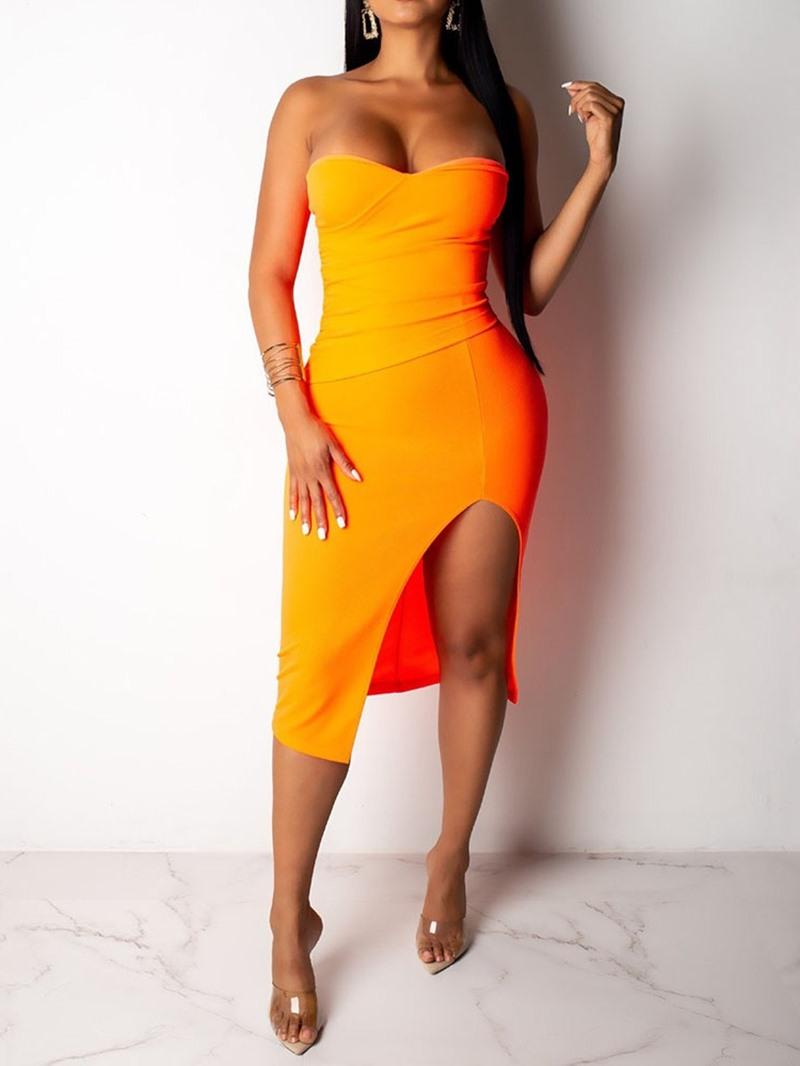 Ericdress Bodycon Strapless Split Plain Mid Waist Orange Dress