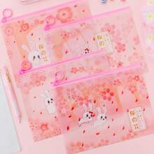 1pc Cartoon Rabbit Print Random Pencil Case
