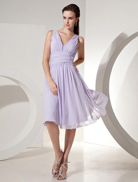 Milanoo Lilac Bridesmaid Dress V Neck Ruched Chiffon A Line Knee Length Short Prom Dress