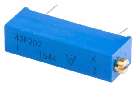 Vishay 43P Series 20-Turn Through Hole Trimmer Resistor with Pin Terminations, 2kΩ ±10% 1/2W ±100ppm/°C Side Adjust