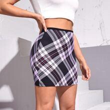 Plaid High Waist Bodycon Skirt