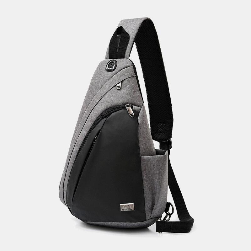 Men Nylon Earphone Hole Casual Crossbody Bag Chest Bag Sling Bag