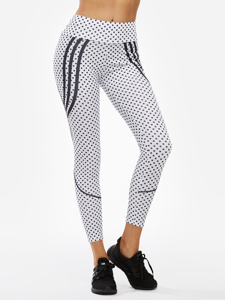 Yoins White Stripe Spot Printed High-waisted Active Bottoms Yoga Pants