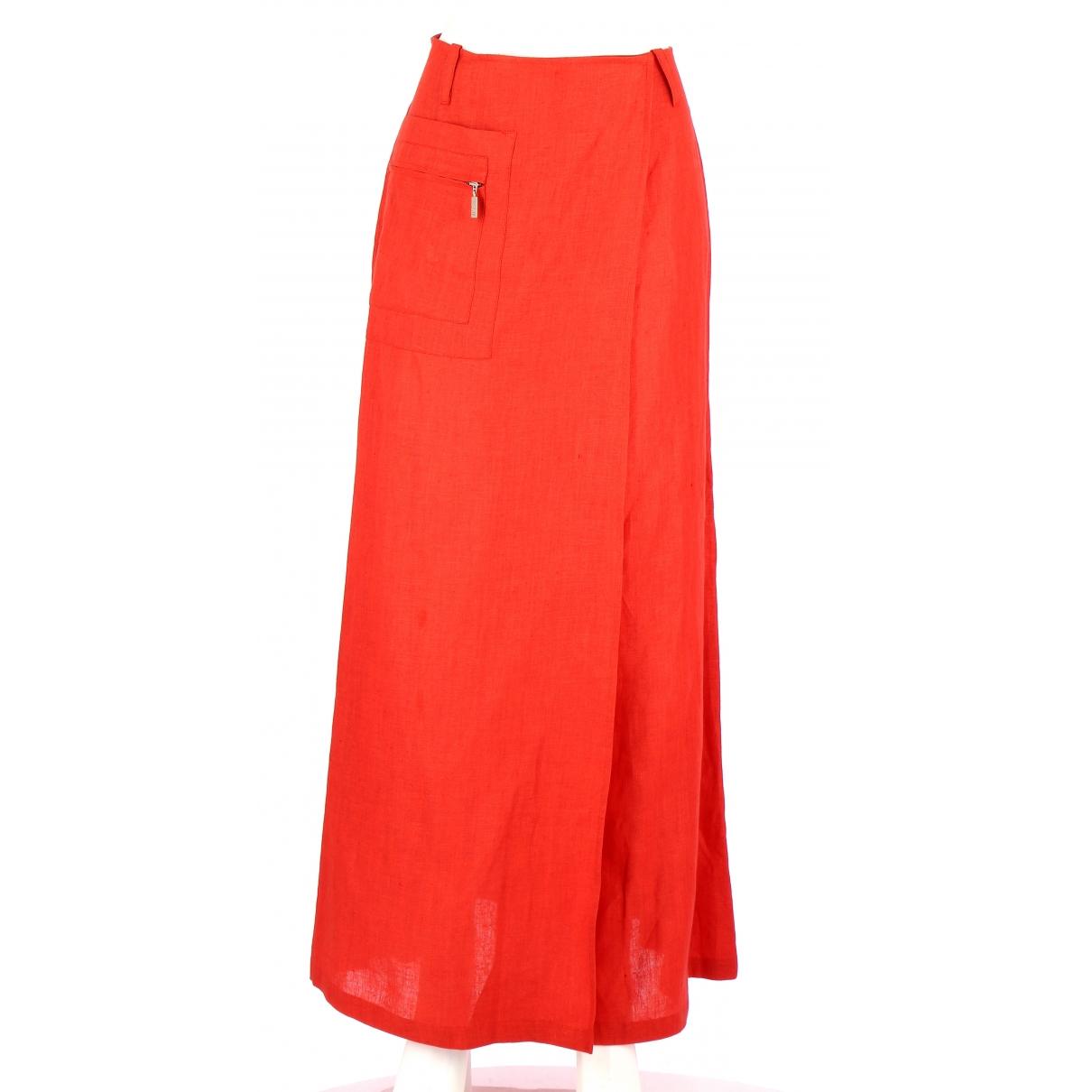 - Jupe   pour femme en lin - orange