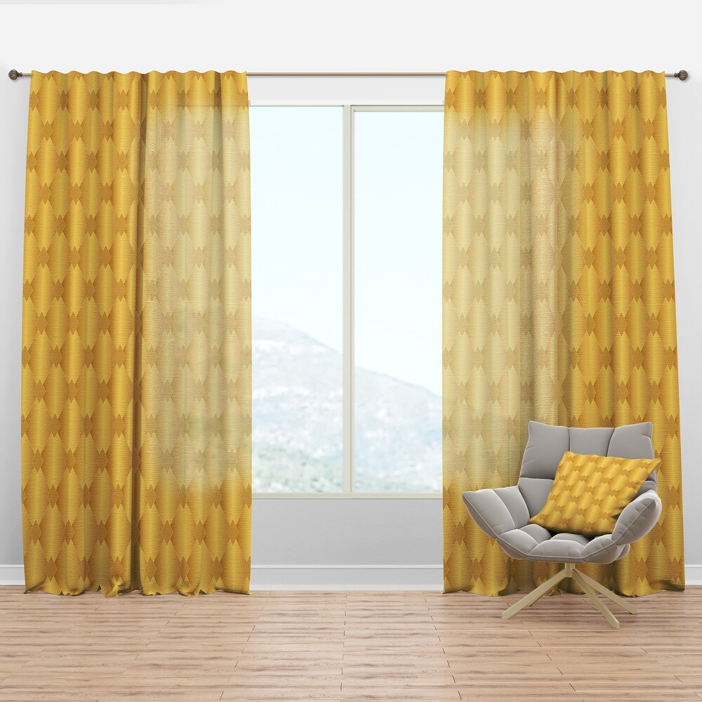 Designart 'Golden Geometric I' Mid-Century Modern Curtain Panel (50 in. wide x 63 in. high - 1 Panel)