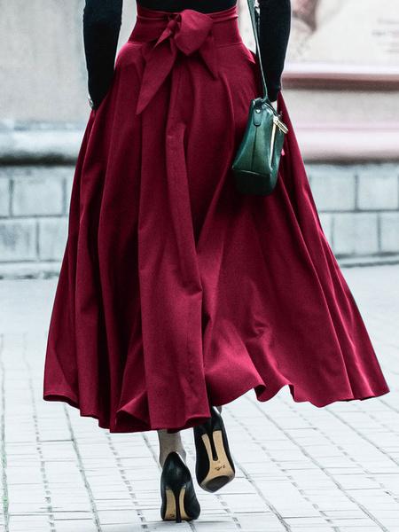 Milanoo Falda de mujer Hunter Green Lace Up Faldas largas plisadas