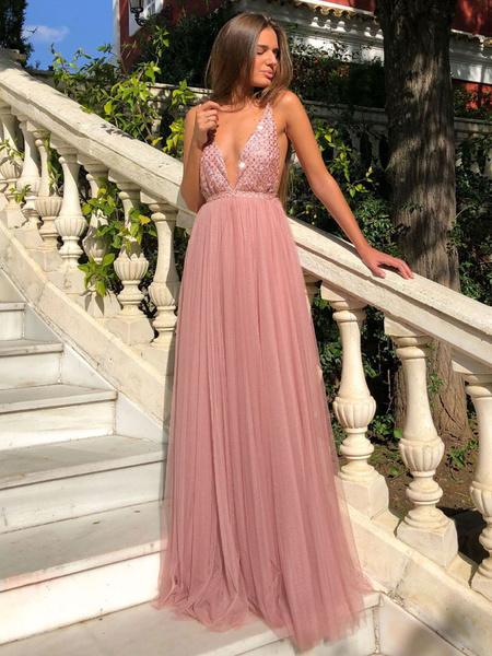 Milanoo Vestido largo rosa  Moda Mujer Color liso sin mangas Vestidos de chifon de talla muy grande con lentejuela con cuello en V Verano