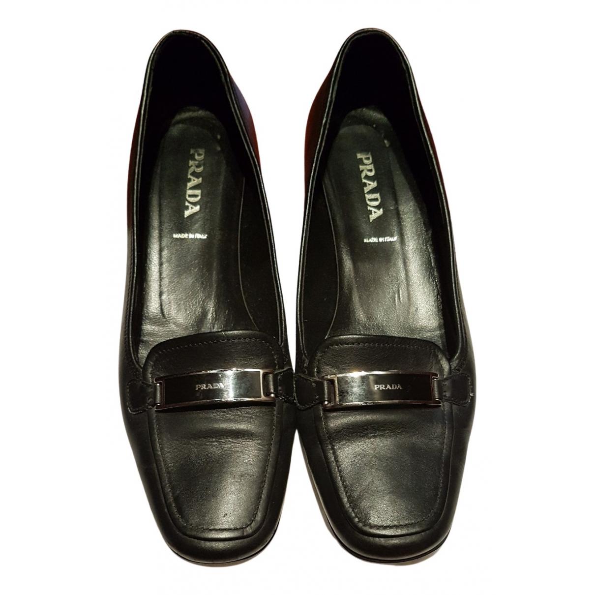 Prada N Black Leather Flats for Women 38.5 EU