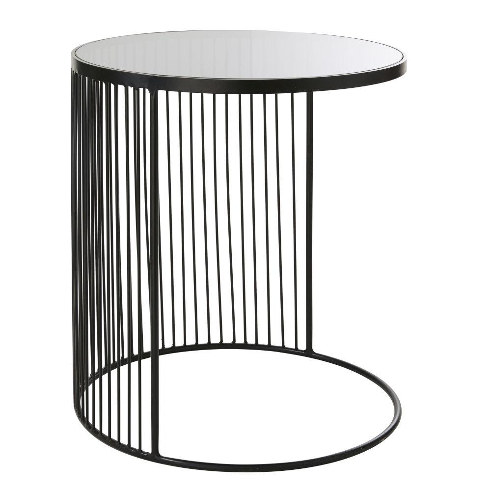Beistelltisch aus schwarzem Metall und Glas