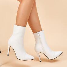 Point Toe Side Zip Stiletto Boots